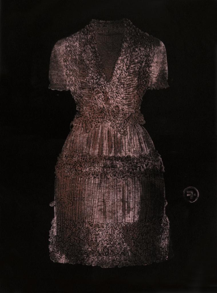 François Berthoud, Robe Alaïa, 2008 / 2014, Linogravure / Monotype, 30 exemplaires sur papier Arches, 37 × 50 cm.